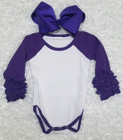 Purple Baby Ruffle Onesie - Momma G's Boutique