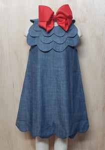 Triple Scalloped Chambray Dress - Momma G's Children's Boutique, Screen Printing, Embroidery & More