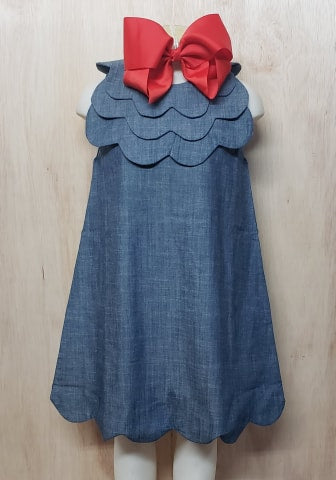 Triple Scalloped Chambray Dress - Momma G's Boutique