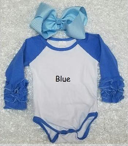 Blue Baby Ruffle Onesie - Momma G's Children's Boutique, Screen Printing, Embroidery & More