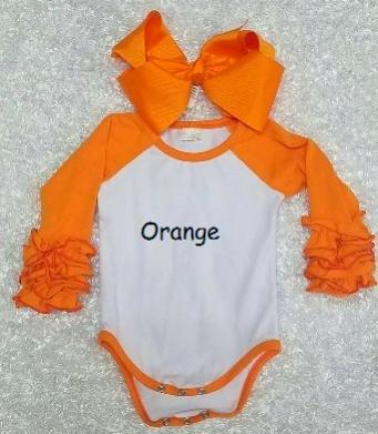 Orange Baby Ruffle Onesie's - Momma G's Children's Boutique, Screen Printing, Embroidery & More