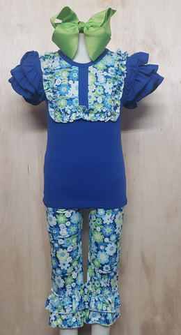 Royal Flowers Capri Set - Momma G's Children's Boutique, Screen Printing, Embroidery & More