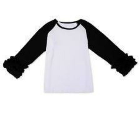 Black Ruffle Raglan - Momma G's Children's Boutique, Screen Printing, Embroidery & More