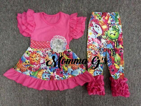 Pink Shopkins Pant Set - Momma G's Children's Boutique, Screen Printing, Embroidery & More