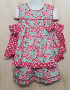 Pink Side Bow Flamingo Short set - Momma G's Children's Boutique, Screen Printing, Embroidery & More