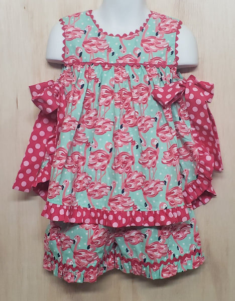 Pink Side Bow Flamingo Short set - Momma G's Boutique