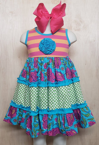 Turquoise Jewel Panel Dress - Momma G's Children's Boutique, Screen Printing, Embroidery & More