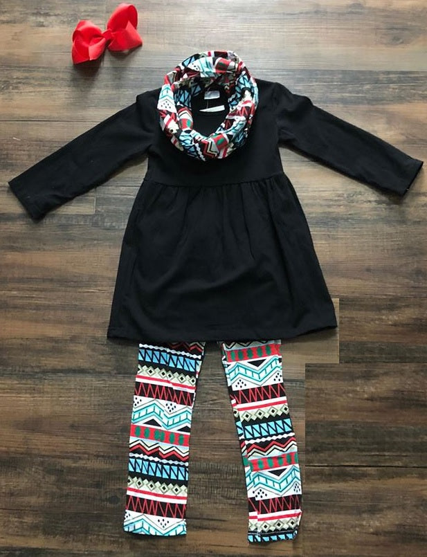 Aztec Fun Leggings Set with Scarf - Momma G's Children's Boutique, Screen Printing, Embroidery & More