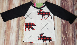 Plaid Bear and Moose Raglan - Momma G's Boutique
