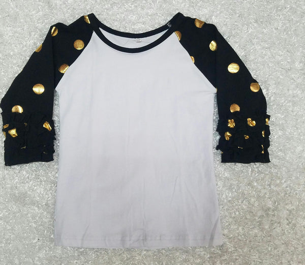 Black with Gold Polka Dots Raglan - Momma G's Screen Printing, Embroidery & More