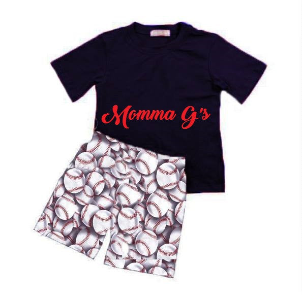 Boys Navy Baseball Set - Momma G's Boutique