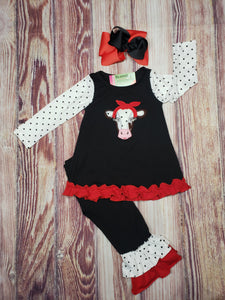 Black and Red Cow Pant Set - Momma G's Boutique