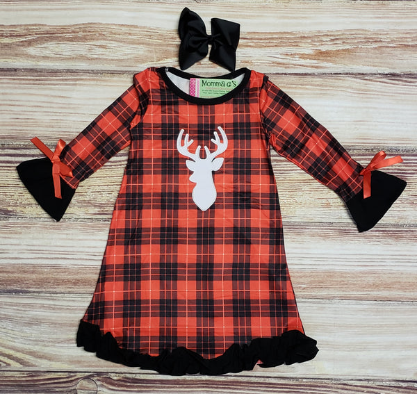 Red Plaid Dress with Deer - Momma G's Boutique
