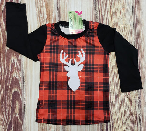 Plaid Embroidered Deer Raglan - Momma G's Boutique