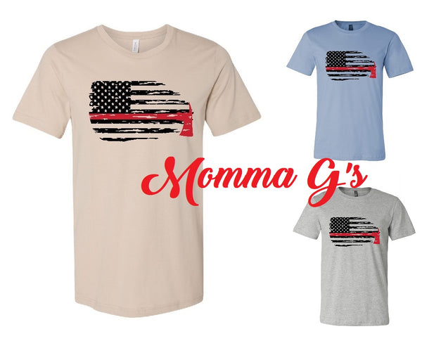 Fire, RED LINE T-shirt - Momma G's Screen Printing, Embroidery & More