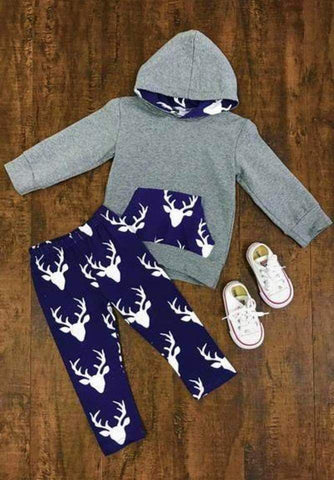 Grey and Blue Deer Hoodie - Momma G's Boutique