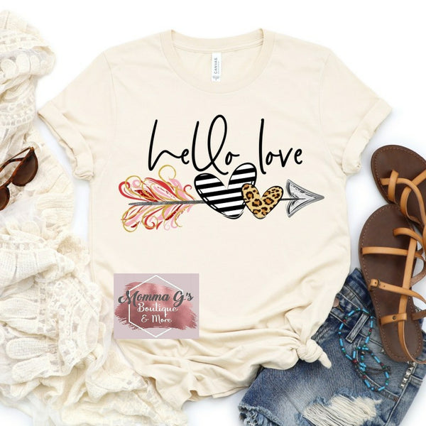 Hello Love T-shirt, Stripped Leopard Hearts and Arrow Valentine