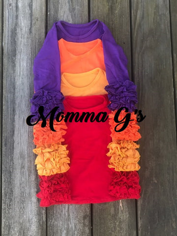 Purple Icing Ruffle Shirts - Momma G's Boutique