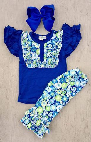 Royal Flowers Capri Set - Momma G's Boutique