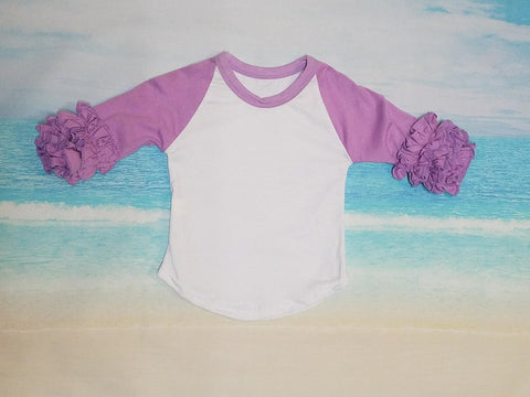 Lavender Ruffle Raglan - Momma G's Children's Boutique, Screen Printing, Embroidery & More