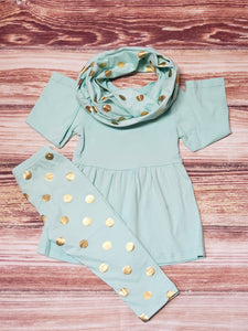 Mint and Gold Scarf set - Momma G's Boutique