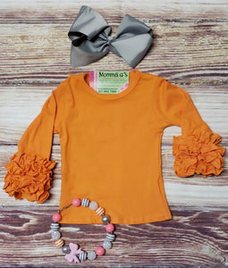 Orange Icing Ruffle Shirts - Momma G's Children's Boutique, Screen Printing, Embroidery & More