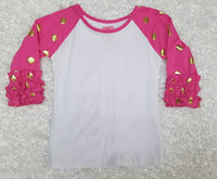 Pink with Gold Polka Dots Raglan - Momma G's Screen Printing, Embroidery & More