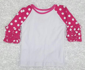 Pink Polka Dot Raglan - Momma G's Children's Boutique, Screen Printing, Embroidery & More