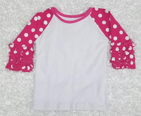 Pink Polka Dot Raglan - Momma G's Boutique