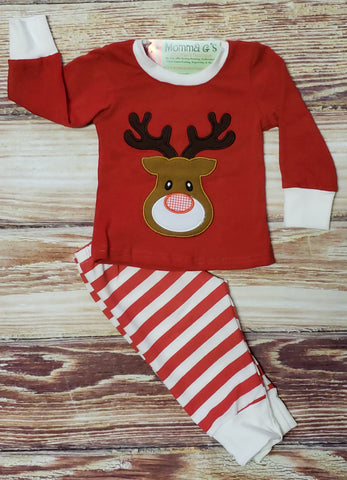 Boys Red Reindeer Pj's - Momma G's Boutique