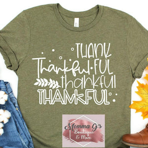 Thank-Thankful T-shirt - Momma G's Children's Boutique, Screen Printing, Embroidery & More