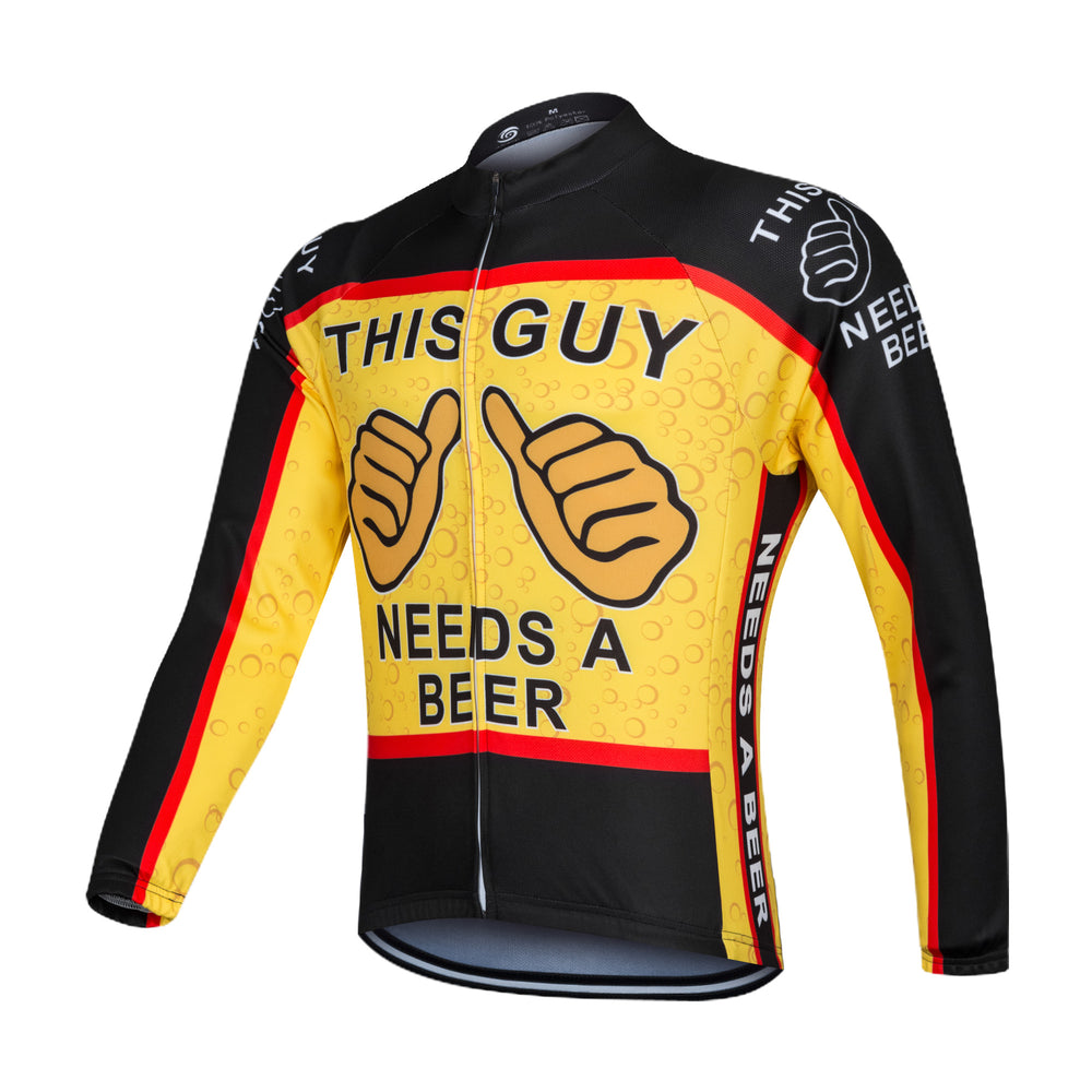This Guy Needs A Beer Long Sleeve Cycling Jersey
