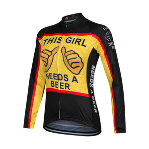 This Girl Needs A Beer Long Sleeve Cycling Jersey