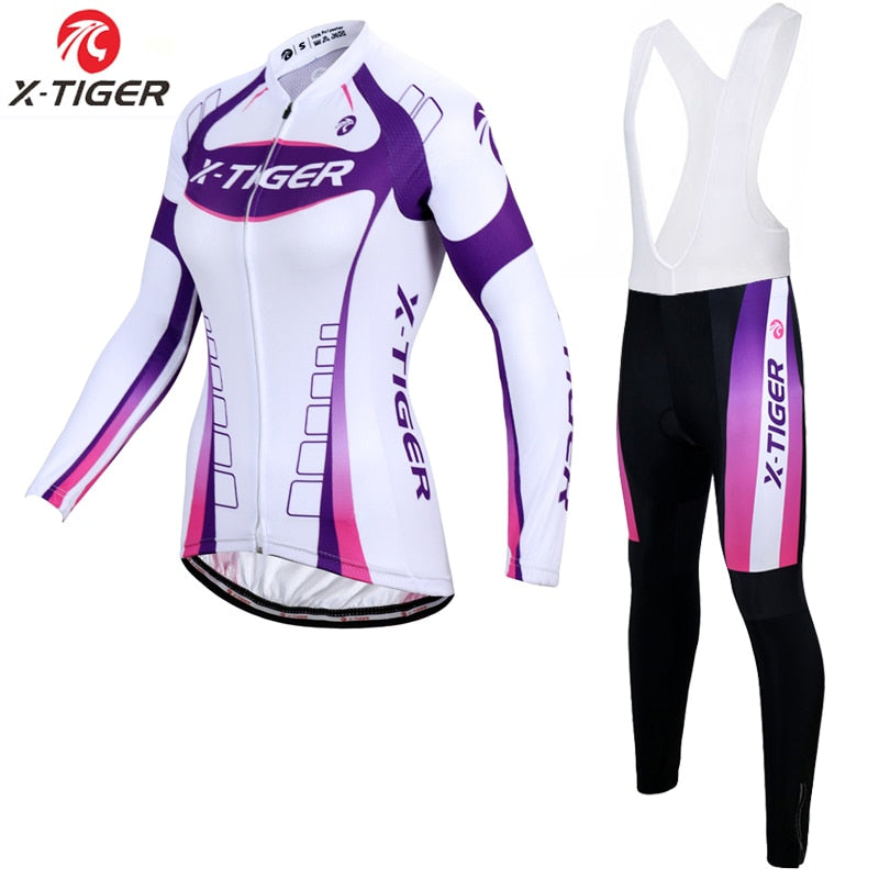X-Tiger Women Winter Thermal Fleece Cycling Jersey Set Mountain Bike Uniform Long Sleeve Cycling Clothing For Women