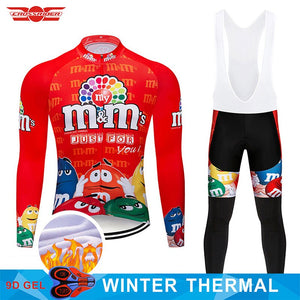 2020 Winter Cycling Jersey Set MTB Cartoon Bike Clothing Mens Ropa Ciclismo Thermal Fleece Bicycle Clothes Long Cycling Wear