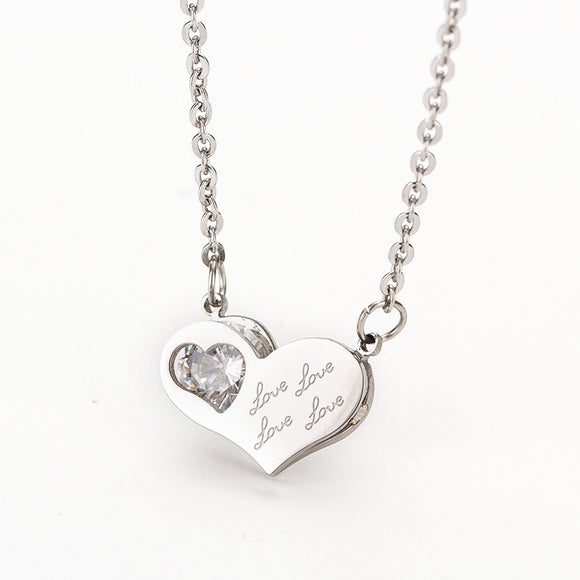 Stainless Steel Pendants Heart Crystal Necklace