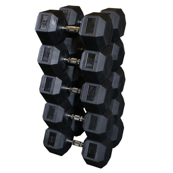 Body Solid 80 to 100 lb Rubber Hex Dumbbell Set (Pairs) - GymBasis Store