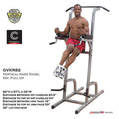 Body-Solid GVKR82 Vertical Knee Raise Chin Pull Up Dip VKR Power Tower - GymBasis Store