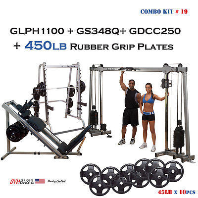 Body-Solid GDCC250 Crossover | GLPH1100 Leg Press, Hack Squat | GS348Q Smith - GymBasis Store