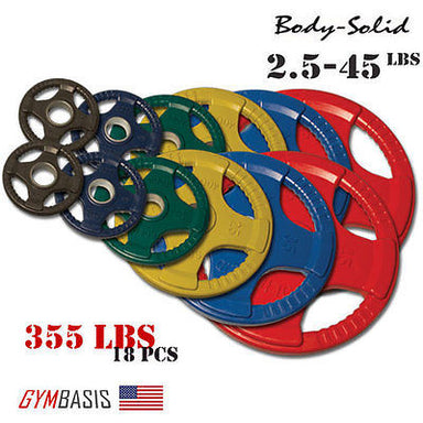 Original Body-Solid 355 lb. Colored Rubber Grip Olympic Plate Set - # ORCT355 - GymBasis Store