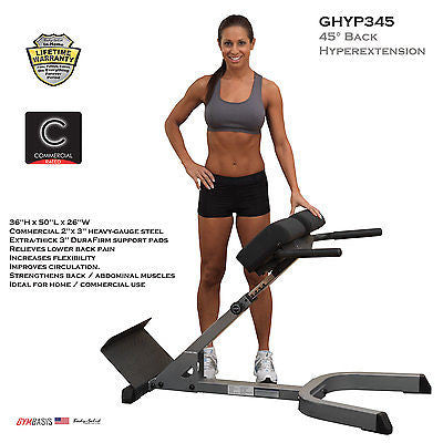 Body-Solid GHYP345 Adjustable 45 Degree Hyperextension Back Bench - GymBasis Store