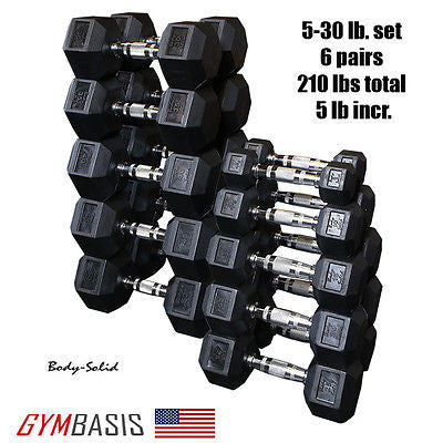 Body-Solid 5-30 Lb Rubber Coated Hex Dumbbell Set, 6 pair, 210 lbs, 5 lb incr. - GymBasis Store