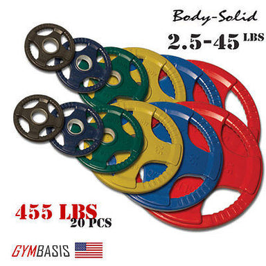 Original Body-Solid 455 lb. Colored Rubber Grip Olympic Plate Set - # ORCT455 - GymBasis Store