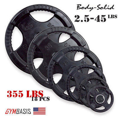 Original Body-Solid Set 355 lbs of Rubber Grip Olympic Weight Plates 2.5-45lb. - GymBasis Store