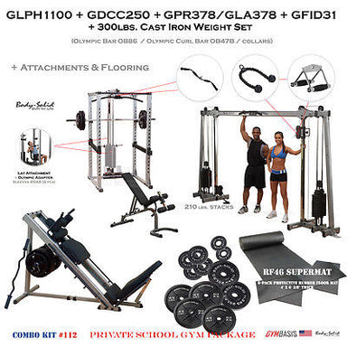 Body-Solid Special Pack: GLPH1100 + GDCC250 + GPR378/GLA378/GFID31 + Attachments - GymBasis Store