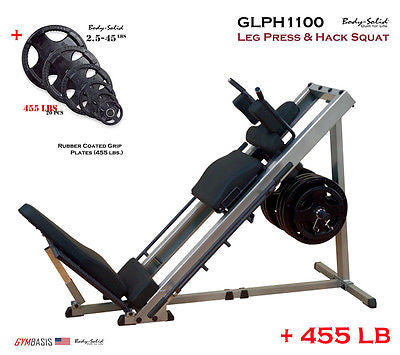 Body-Solid GLPH1100 Leg Press & Hack Squat + 455 lbs Rubber Grip Plates - GymBasis Store