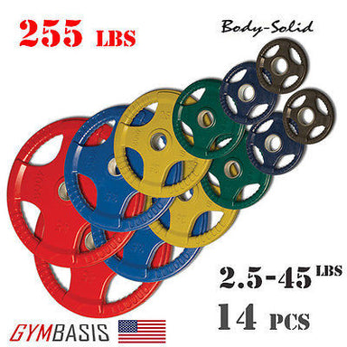 Body-Solid Set 255lbs. of Colored Rubber Grip Olympic Weight Plates 2.5-45lb. - GymBasis Store