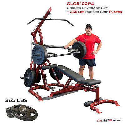Body-Solid GLGS100P4 Corner Leverage Gym Pack + 355 lbs Rubber Grip Plates - GymBasis Store