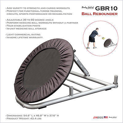 "Body-Solid GBR10 Medicine Ball Rebounder 30"" Adjustable 30 to 60 degree - GymBasis Store"