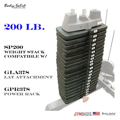 SP200 Body-Solid 200 lb Weight Stack Option for GLA378 Lat Attachment - GymBasis Store